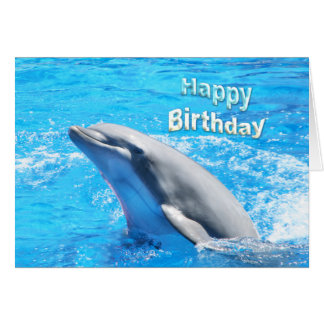 Dolphin In Water Happy Birthday Card
