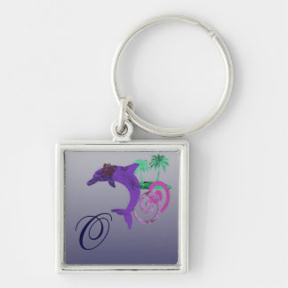 Dolphin Island Blue, Purple, Fushia, and Aquamarin Keychain