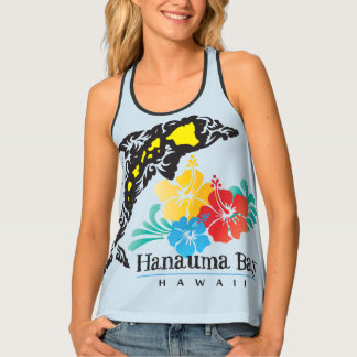 Dolphin Islands and Hibiscus Flowers Tank Top