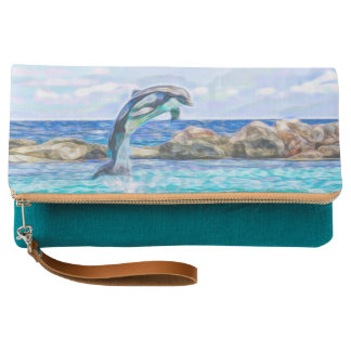 Dolphin Jumping Out of the Water Fractal Art Clutch