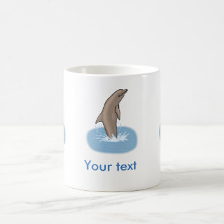 Dolphin jumping water cartoon ( customize name) coffee mug