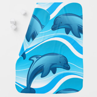 Dolphin jumping waves baby blanket