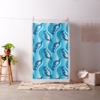 Dolphin jumping waves fabric