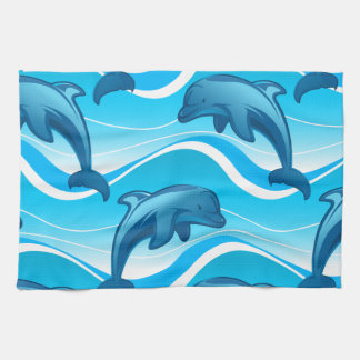 Dolphin jumping waves kitchen towel