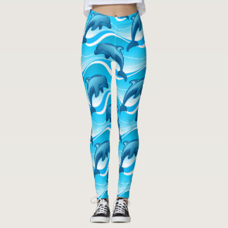 Dolphin jumping waves leggings