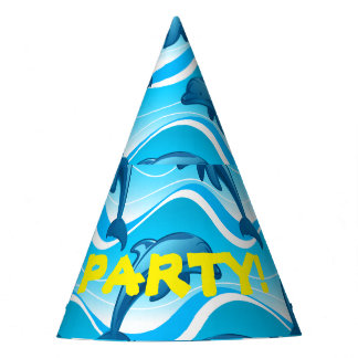 Dolphin jumping waves party hat