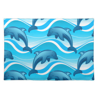 Dolphin jumping waves placemat