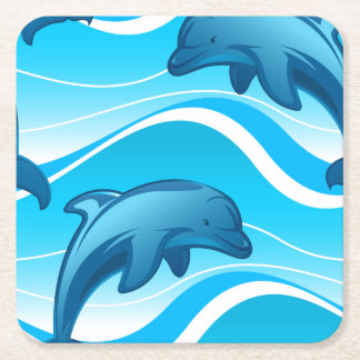 Dolphin jumping waves square paper coaster
