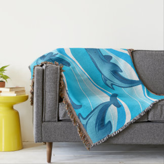 Dolphin jumping waves throw blanket