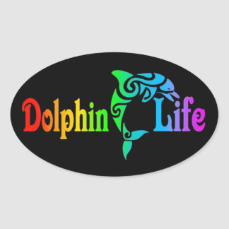 Dolphin Life Oval Sticker