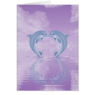 DOLPHIN LOVER GIFT PURPLE BACKGROUNDS GREETING CARD
