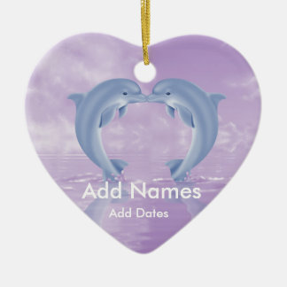 DOLPHIN LOVER GIFT PURPLE BACKGROUNDS Double-Sided HEART CERAMIC CHRISTMAS ORNAMENT