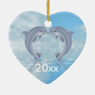 Dolphin Lovers Gift Ideas Ceramic Heart Ornament