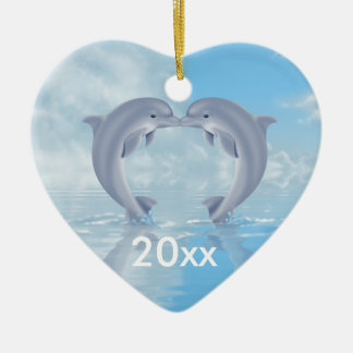Dolphin Lovers Gift Ideas Double-Sided Heart Ceramic Christmas Ornament
