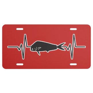 Dolphin / Mahi Mahi Fish - Heartbeat Pulse Graphic License Plate