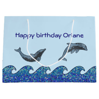 dolphin mosaic large gift bag