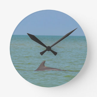 Dolphin on Sanibel Round Clock
