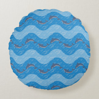 Dolphin Patterned Round Pillow