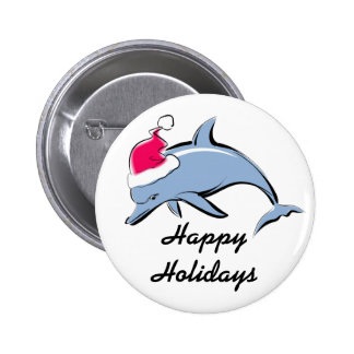 Dolphin Santa Holiday Button