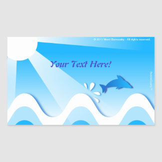 Dolphin sea rectangular stickers (your text here)