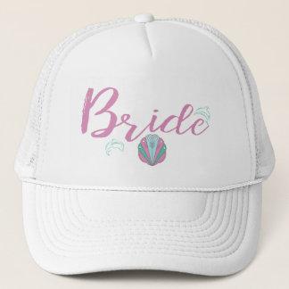 Dolphin Seaside Bride Trucker Hat