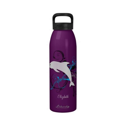 Dolphin Silhouette Personalized 24oz Water Bottle