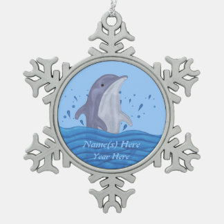 Dolphin Splash Snowflake Pewter Christmas Ornament