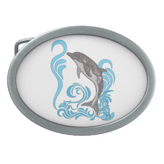 Dolphin Splashing Belt Buckle