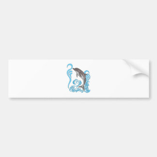 Dolphin Splashing Bumper Sticker