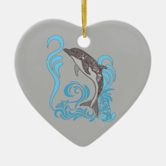 Dolphin Splashing Ceramic Heart Ornament