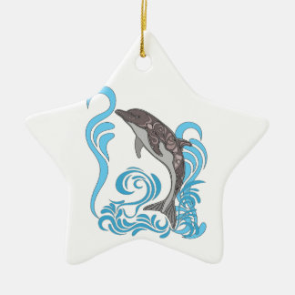 Dolphin Splashing Ceramic Star Ornament