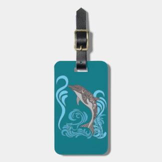 Dolphin Splashing Luggage Tag