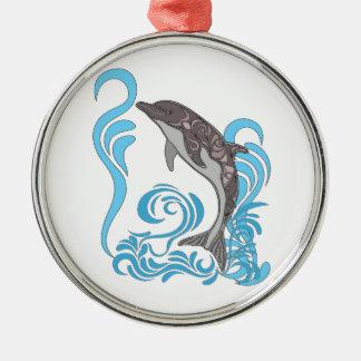 Dolphin Splashing Metal Ornament