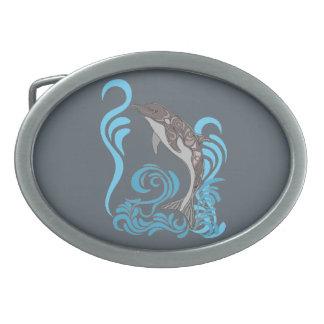 Dolphin Splashing Oval Belt Buckles