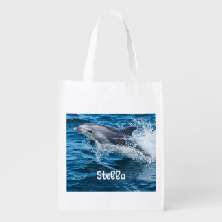 Dolphin Splashing Personalized Reusable Bag Reusable Grocery Bag