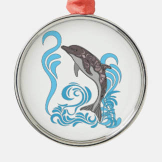 Dolphin Splashing Silver-Colored Round Ornament
