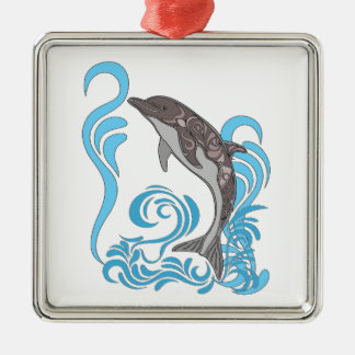 Dolphin Splashing Silver-Colored Square Ornament