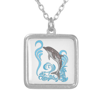 Dolphin Splashing Silver Plated Necklace
