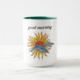 dolphin sunrise coffee mug