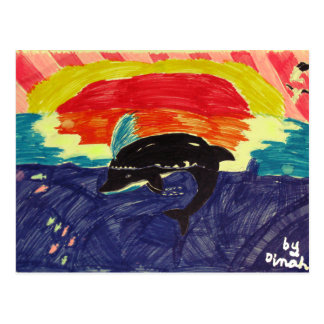 Dolphin Sunset Postcard