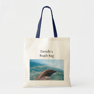 Dolphin Swimming in Blue Ocean Water Custom Name Tote Bag