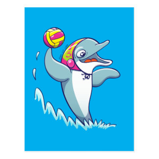 Dolphin throwing the ball while playing water polo postcard