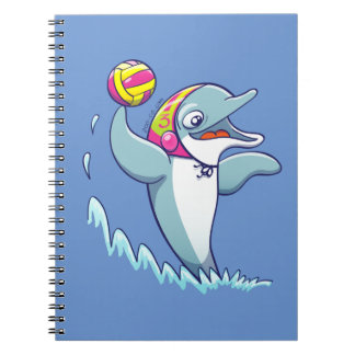 Dolphin throwing the ball while playing water polo spiral notebooks