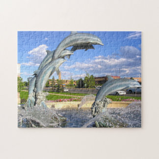 Dolphin  Water Statue Denver. Jigsaw Puzzle
