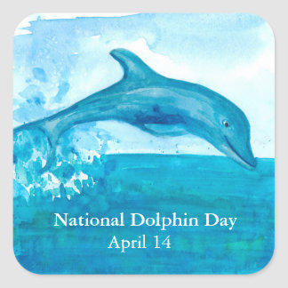 Dolphin Watercolor Painting Square Sticker