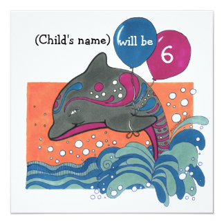 Dolphin with Balloons 6th Birthday Invite