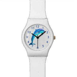 Dolphin With Blue Numbers Wrist Watch