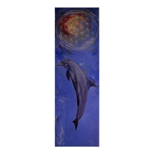 dolphin with flower OF life Posters