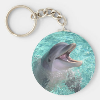 Dolphin with open mouth basic round button keychain