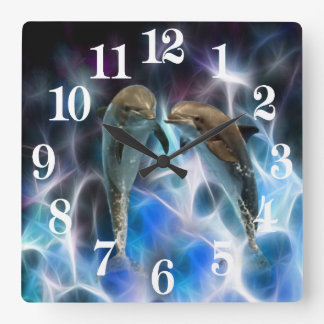 Dolphins and fractal crystals square wall clock